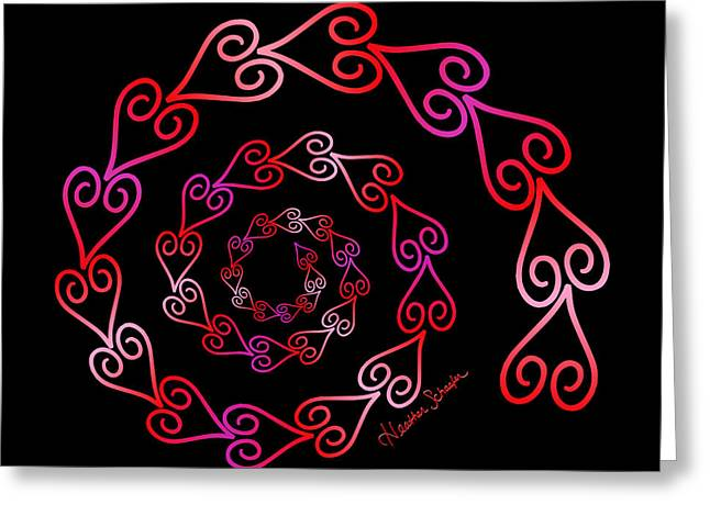 Spiral Of Hearts Greeting Card