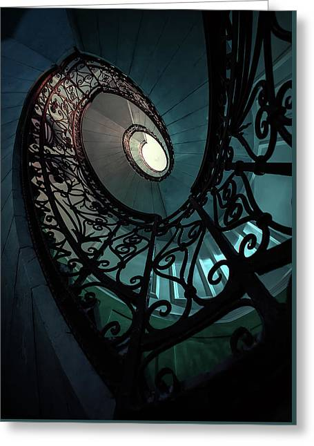 Greeting Card featuring the photograph Spiral Ornamented Staircase In Blue And Green Tones by Jaroslaw Blaminsky