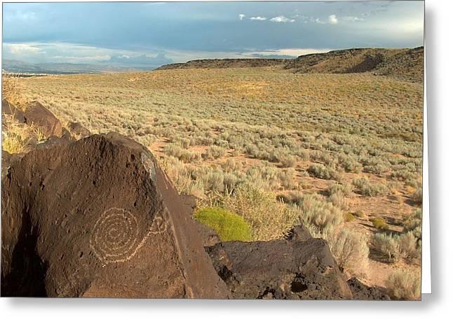 Spiral Petroglyph Greeting Card by Tim McCarthy