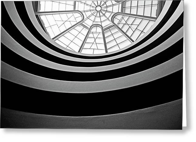 Sami Sarkis Photographs Greeting Cards - Spiral staircase and ceiling inside The Guggenheim Greeting Card by Sami Sarkis