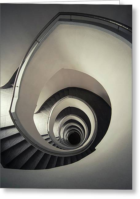 Spiral Staircase In Beige Tones Greeting Card by Jaroslaw Blaminsky