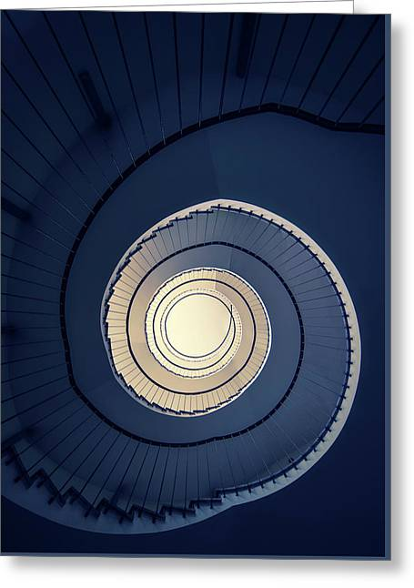Greeting Card featuring the photograph Spiral Staircase In Blue And Cream Tones by Jaroslaw Blaminsky