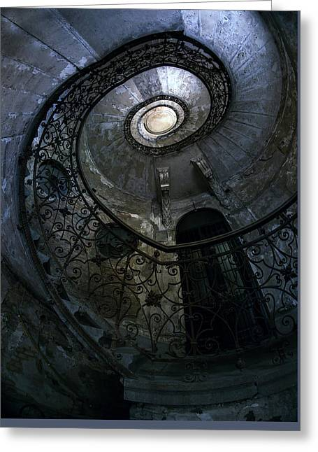 Spiral Staircase In Blue And Gray Tones Greeting Card