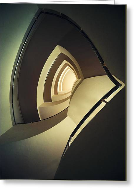 Spiral Staircase In Brown And Cream Colors Greeting Card by Jaroslaw Blaminsky