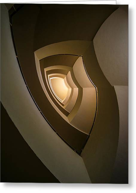 Spiral Staircase In Brown And Golden Tones Greeting Card by Jaroslaw Blaminsky