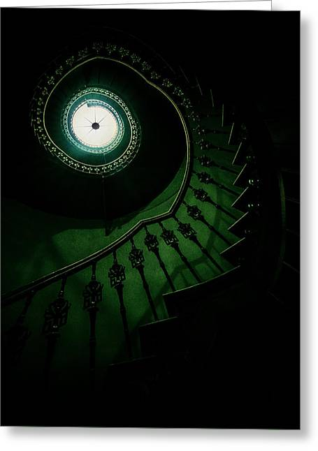 Spiral Staircase In Green Tones Greeting Card
