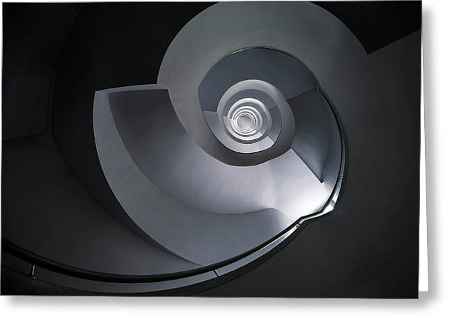 Greeting Card featuring the photograph Spiral Staircase In Grey And Blue Tones by Jaroslaw Blaminsky