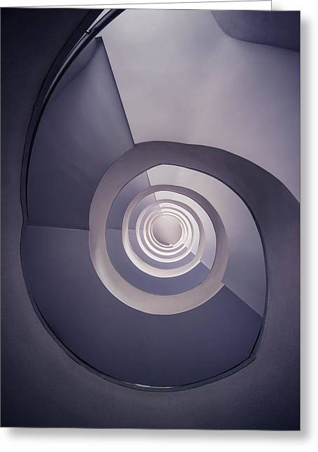 Spiral Staircase In Plum Tones Greeting Card by Jaroslaw Blaminsky
