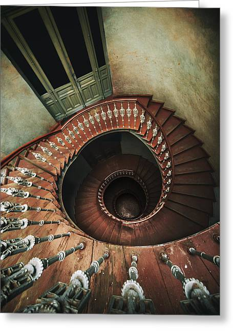 Spiral Staircase In Red And Brown Tones Greeting Card by Jaroslaw Blaminsky