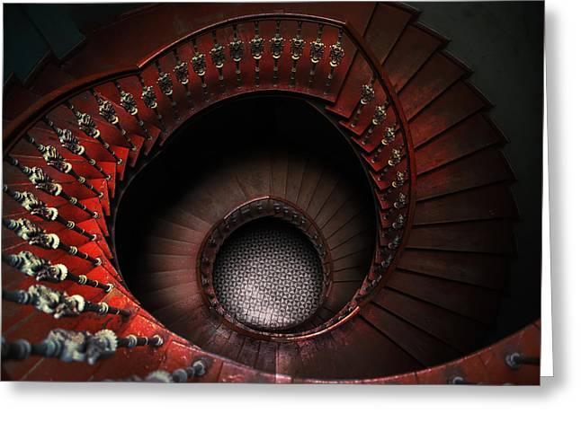 Spiral Staircase In Red Tones Greeting Card by Jaroslaw Blaminsky