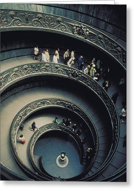 Spiral Staircase In Vatican 2 Greeting Card by Carl Purcell