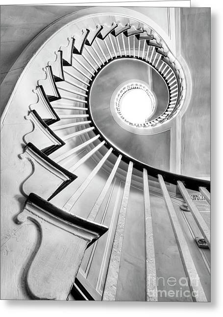Old House Photographs Greeting Cards - Spiral Staircase Lowndes Grove  Greeting Card by Dustin K Ryan