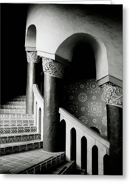 Spiral Stairs- Black And White Photo By Linda Woods Greeting Card
