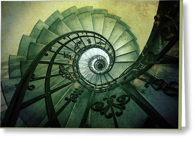 Greeting Card featuring the photograph Spiral Stairs In Green Tones by Jaroslaw Blaminsky