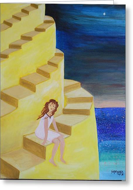Oniric Greeting Cards - Spiral Stairs Greeting Card by Monica Moser