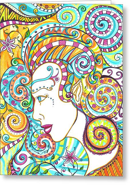 Spiraled Out Of Control Greeting Card by Shawna Rowe