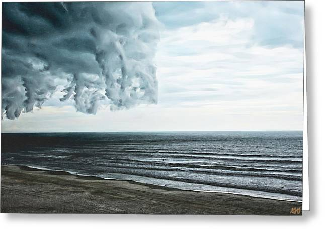 Spiraling Storm Clouds Over Daytona Beach, Florida Greeting Card
