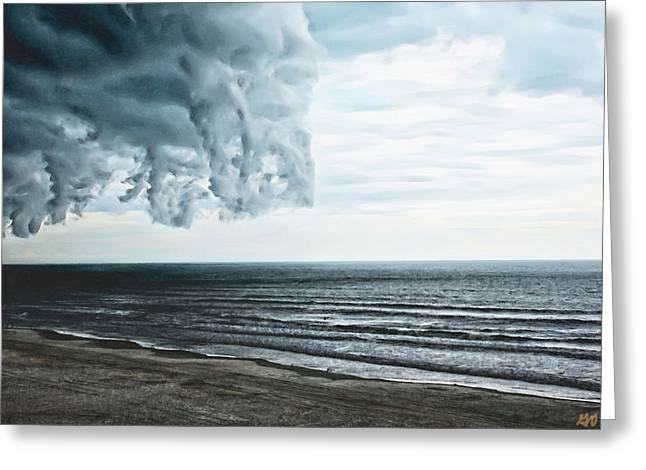 Spiraling Storm Clouds Over Daytona Beach, Florida Greeting Card