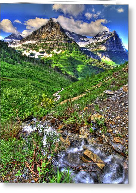 Snow Capped Greeting Cards - Spires and Stream Greeting Card by Scott Mahon