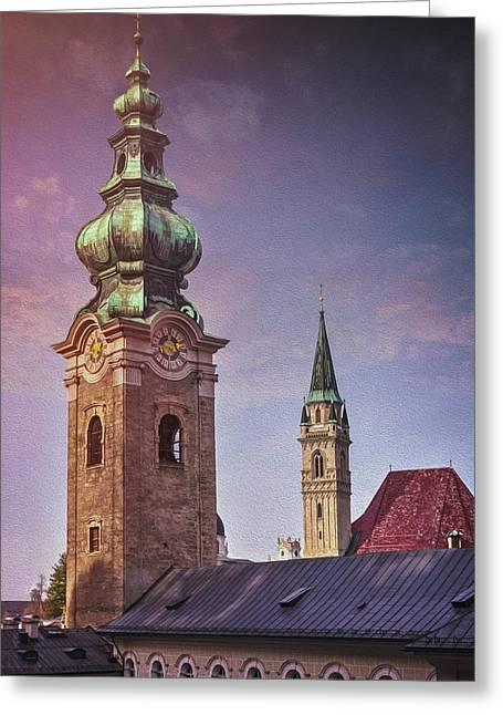 Spires Of Salzburg Austria  Greeting Card
