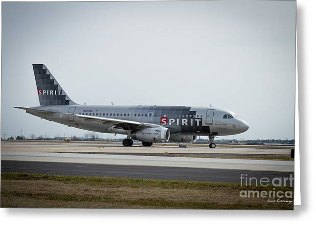 Greeting Card featuring the photograph Spirit Airlines A319 Airbus N523nk Airplane Art by Reid Callaway