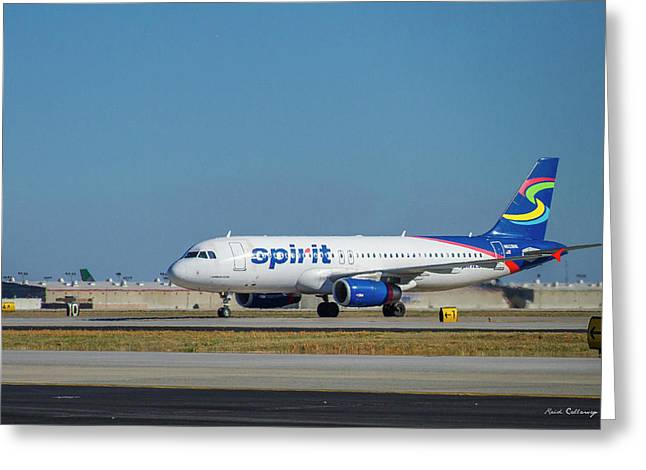 Greeting Card featuring the photograph Spirit Airlines Airbus A320 N608nk Airplane Art by Reid Callaway