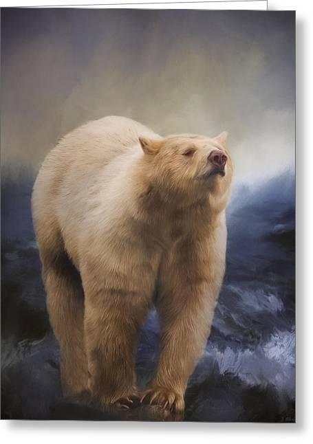 Spirit Bear - Kermode Bear Art Greeting Card by Jordan Blackstone