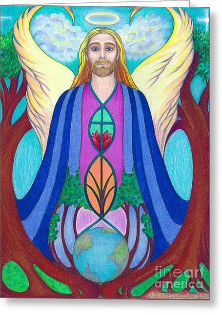 Spirit Guide Sananda Greeting Card by Debra A Hitchcock