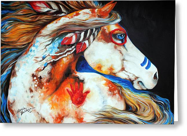 Eyes Paintings Greeting Cards - Spirit Indian War Horse Greeting Card by Marcia Baldwin