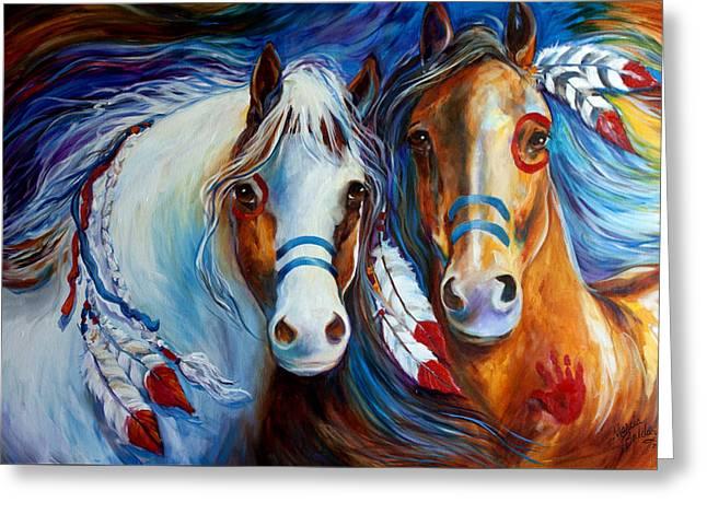 Spirit Indian War Horses Commission Greeting Card