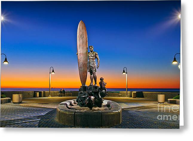 Spirit Of Imperial Beach Surfer Sculpture Greeting Card