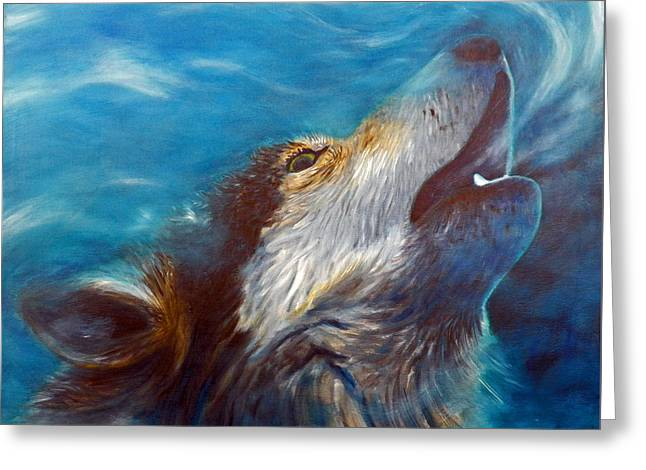 Spirit Of The Wolf Greeting Card by Brian  Commerford