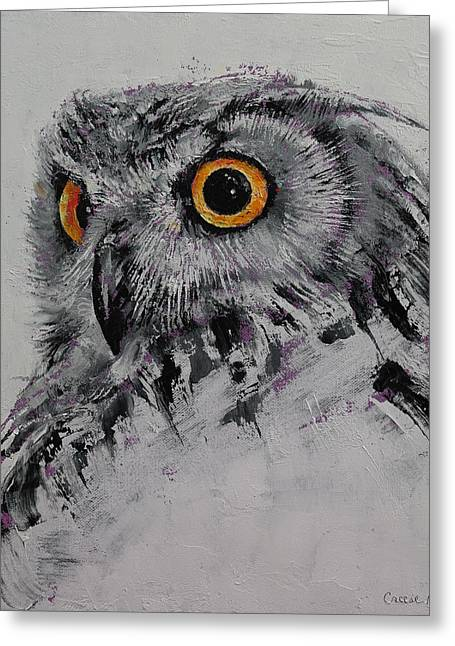 Spirit Owl Greeting Card by Michael Creese