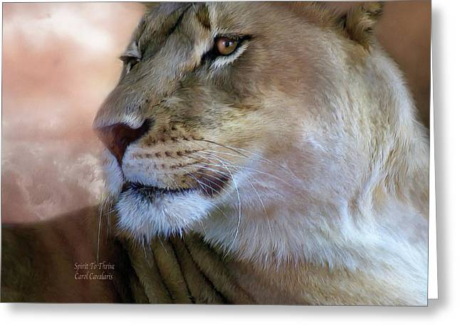 Best Sellers -  - Lioness Greeting Cards - Spirit To Thrive Greeting Card by Carol Cavalaris