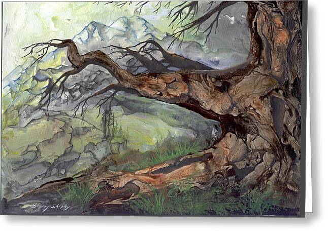 Greeting Card featuring the painting Spirit Tree by Sherry Shipley