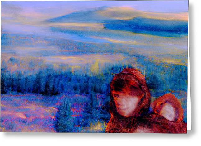 Greeting Card featuring the painting Spirits Of The Sacred Land by FeatherStone Studio Julie A Miller