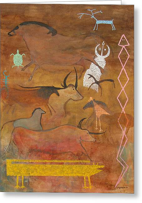 Greeting Card featuring the painting Spirits- Souls Of All Living by Mordecai Colodner