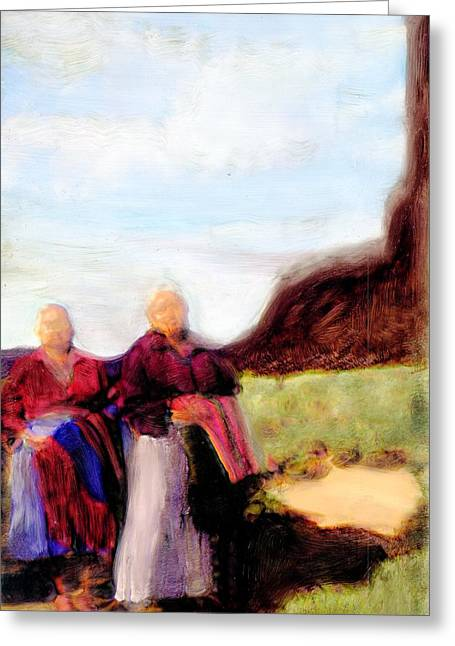Greeting Card featuring the painting Spirits They Are Here by FeatherStone Studio Julie A Miller