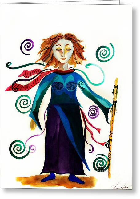 Spiritual Warrior Greeting Card by Jean Fry