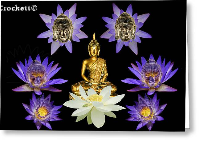 Greeting Card featuring the digital art Spiritual Water Lilly by Gary Crockett