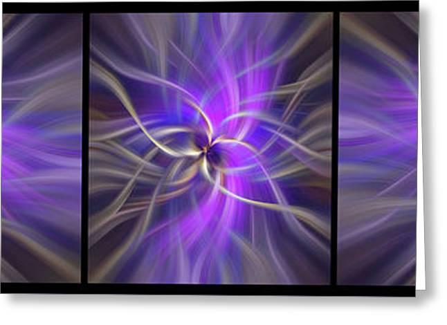 Spirituality. Black Framed Triptych Greeting Card by Jenny Rainbow