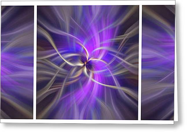 Spirituality. White Framed Triptych Greeting Card by Jenny Rainbow