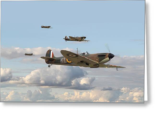 Spitfire - 54 Squadron Greeting Card by Pat Speirs