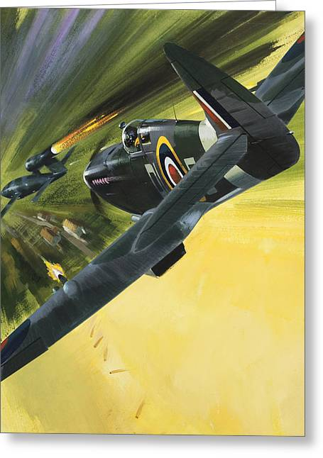 Spitfire And Doodle Bug Greeting Card by Wilf Hardy