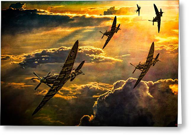 Spitfire Attack Greeting Card by Chris Lord