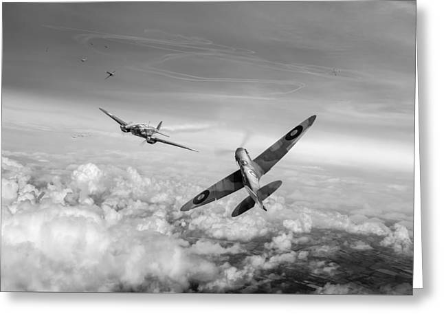Spitfire Attacking Heinkel Bomber Black And White Version Greeting Card by Gary Eason