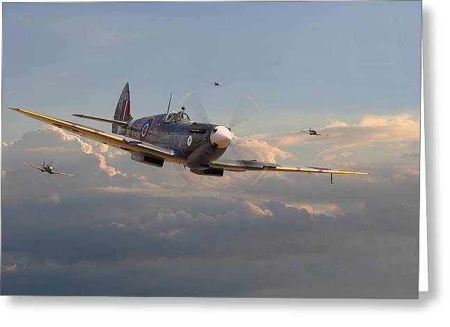 Spitfire - Homeward Greeting Card by Pat Speirs