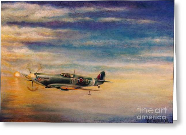 Spitfire In Flight Greeting Card by Liam O Conaire