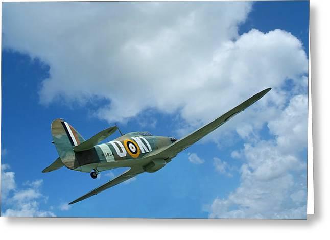Spitfire In Flight Greeting Card by Zvonko Djuric