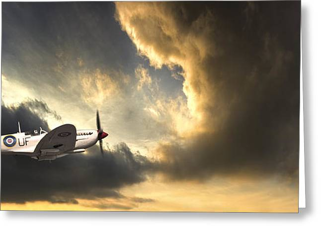 Aeroplane Greeting Cards - Spitfire Greeting Card by Meirion Matthias